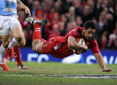 Faletau touches down in the second half.