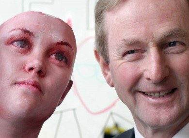 Enda Kenny (right) with a 3D-printed head created with DNA from discarded cigarettes at the Science Gallery this week.