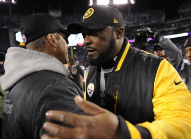 Tomlin with Ravens coach John Harbaugh after last night's game. Wonder what they were talking about...