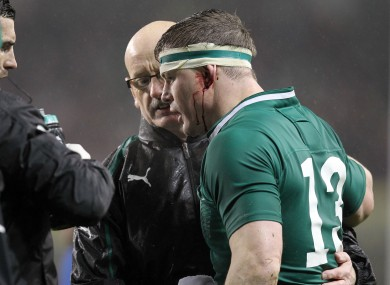 Brian O'Driscoll gets medical assistance after a suspected concussion against France in March.