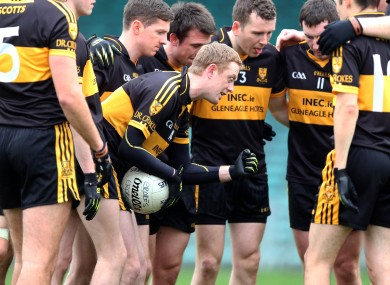 Dr Crokes forward Colm Cooper gives a team talk before the start of the Munster final.