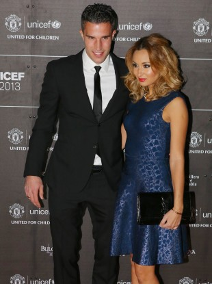 Robin van Persie and wife Bouchra arrive at The United for UNICEF Gala Dinner last week in Manchester.
