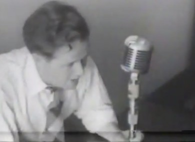 Michael O'Hehir in the commentary position in New York in 1947.