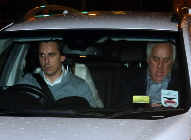Gary Neville (left) drives his father Neville Neville from Bolton Crown Court after his father was cleared of sexual assault against a woman who had offered him a lift home following a night out.