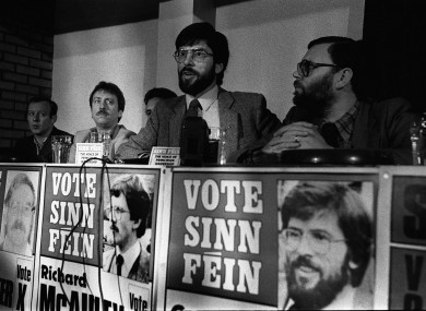 Gerry Adams at a press conference in Belfast to launch its party manifesto in May 1983.