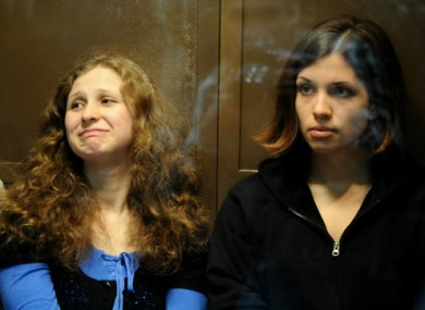 Maria Alyokhina (left), seen here with another Pussy Riot member Nadezhda Tolokonnikova.