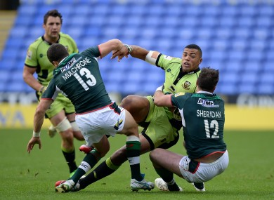 Fergus Mulchrone and Eamonn Sheridan combined for three London Irish tries today.