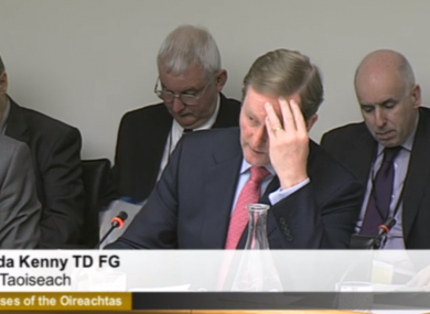 Enda Kenny before the Oireachtas sub-committee examining his department's budget this evening.