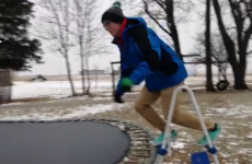 This is what happens when you jump on a frozen trampoline