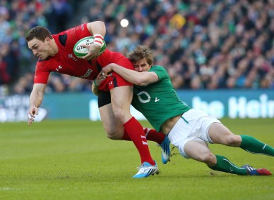 Peter O'Mahony goes on the charge against Wales.