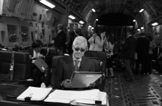 'Following my leader': Bill Clinton parodies his wife's famous meme photo