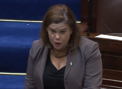 Mary Lou McDonald in the Dáil today.