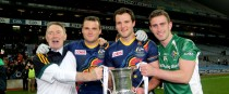 Ireland's Neil McGee, Michael Murphy and Paddy McBrearty celebrate in 2013.
