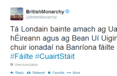 The British Monarchy are tweeting in Irish for the President's visit